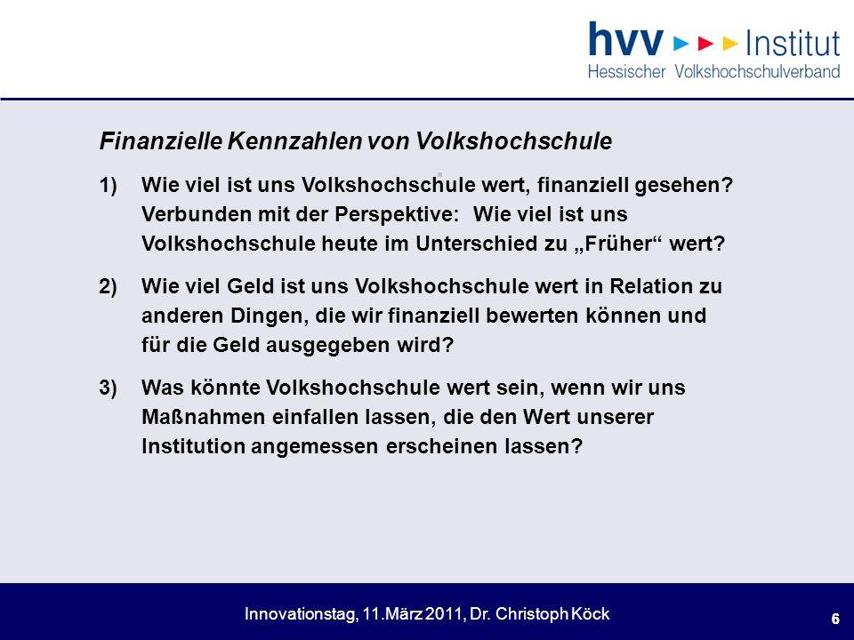 . Finanzielle Kennzahlen von Volkshochschule