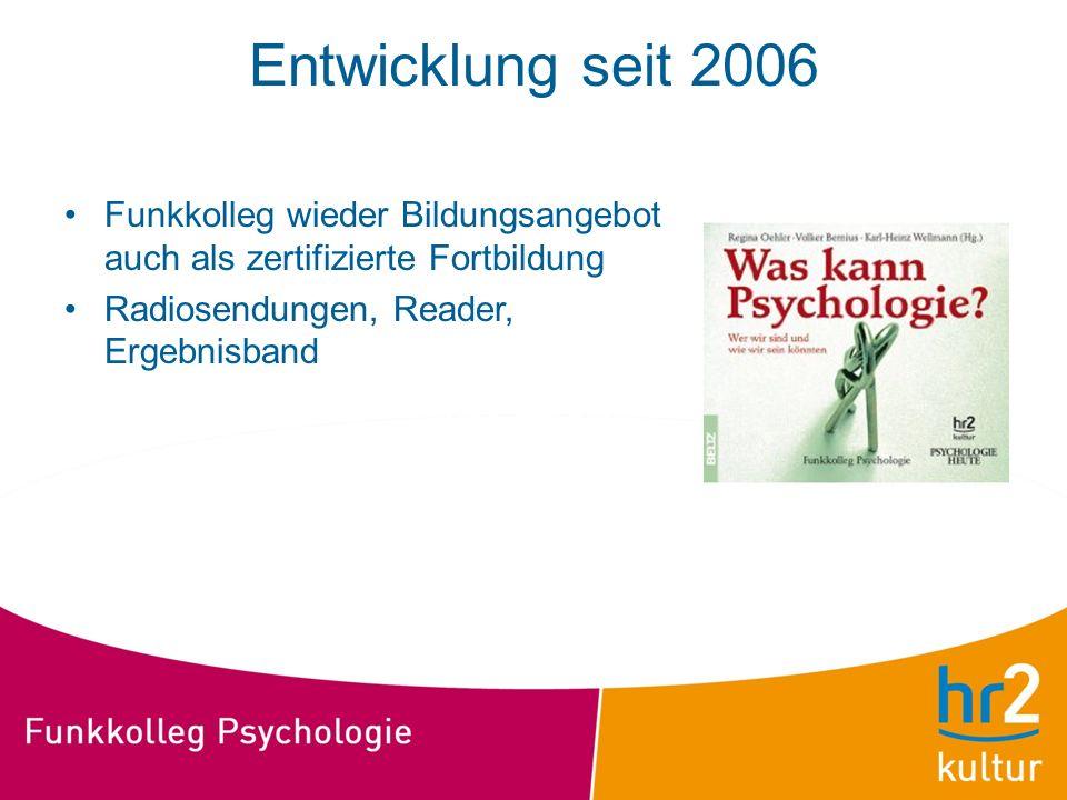 Entwicklung seit 2006 Funkkolleg wieder Bildungsangebot auch als zertifizierte Fortbildung.