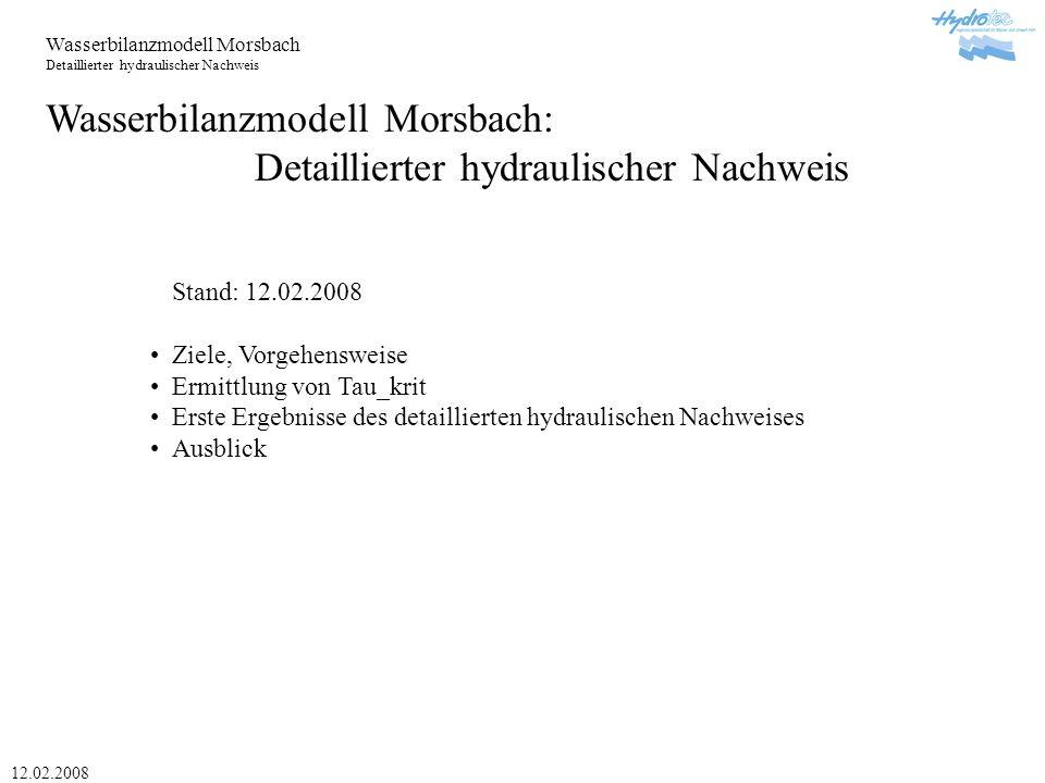 Wasserbilanzmodell Morsbach: Detaillierter hydraulischer Nachweis