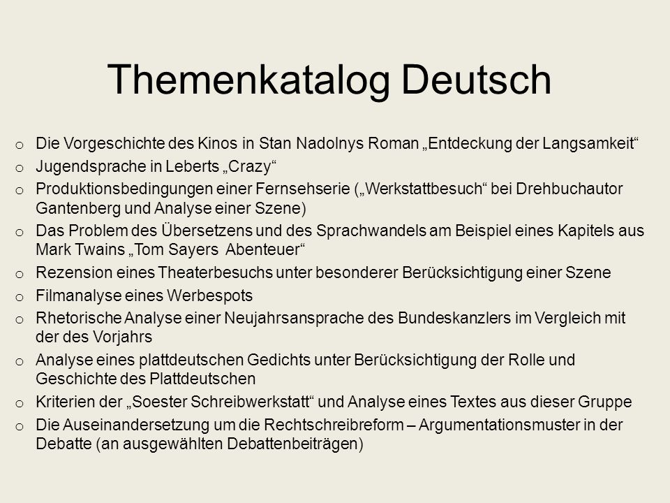 Themenkatalog Deutsch