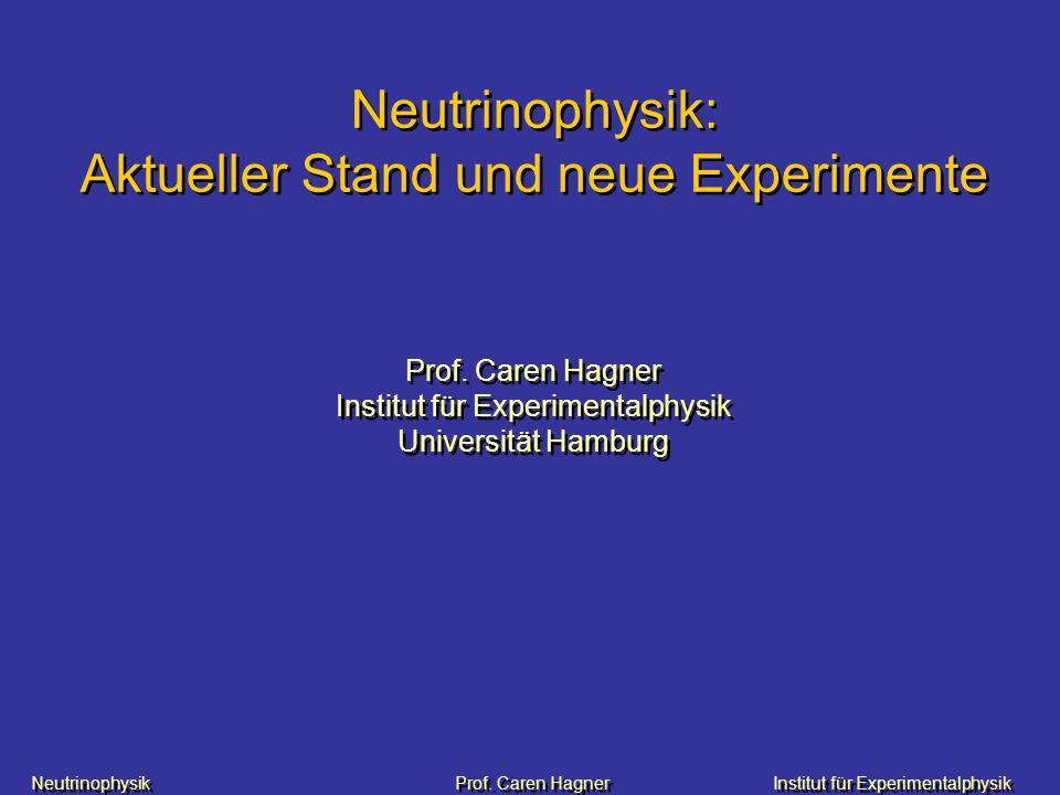 Neutrinophysik: Aktueller Stand und neue Experimente