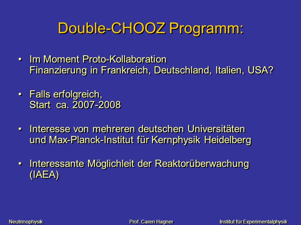 Double-CHOOZ Programm: