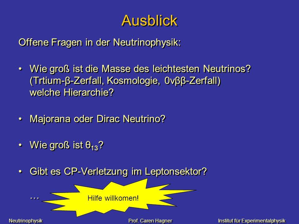 Ausblick Offene Fragen in der Neutrinophysik: