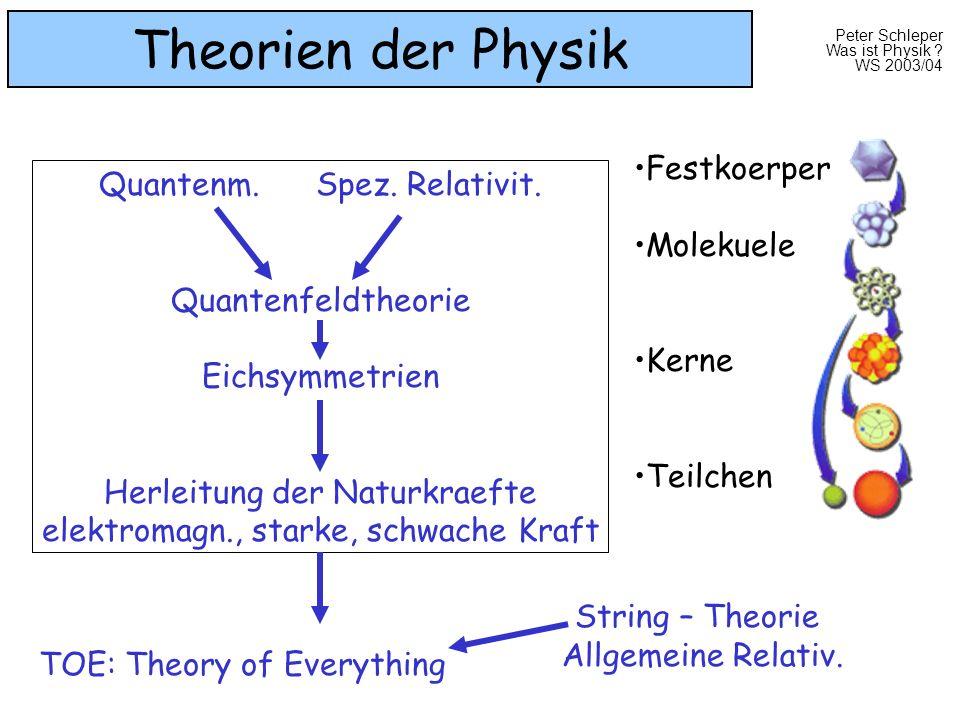 Theorien der Physik Festkoerper Quantenm. Spez. Relativit. Molekuele