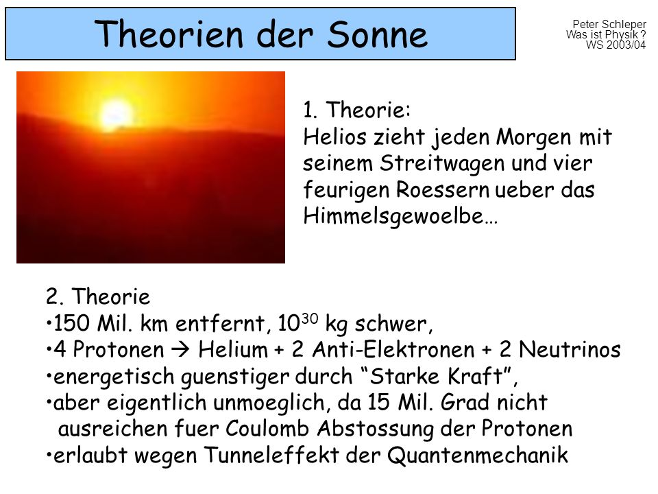 Theorien der Sonne 1. Theorie: Helios zieht jeden Morgen mit