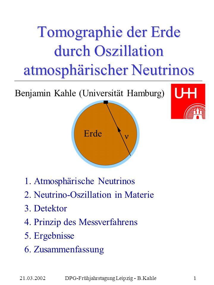 Tomographie der Erde durch Oszillation atmosphärischer Neutrinos