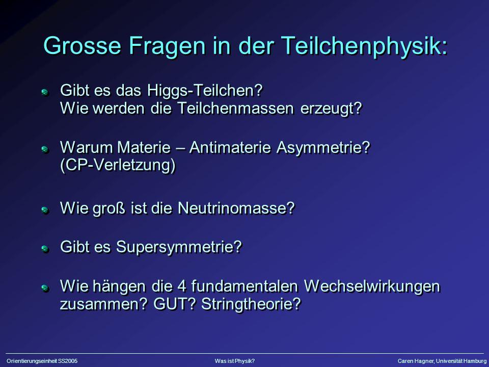 Grosse Fragen in der Teilchenphysik: