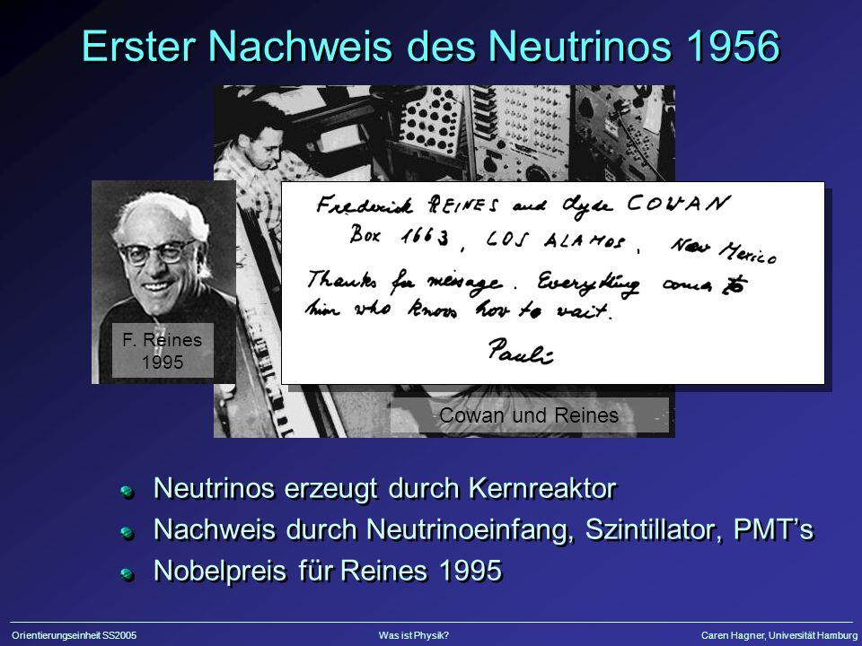 Erster Nachweis des Neutrinos 1956
