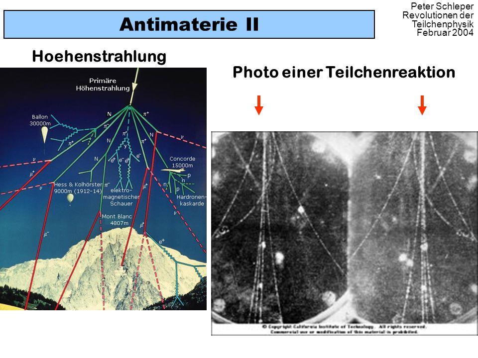 Antimaterie II Hoehenstrahlung Photo einer Teilchenreaktion