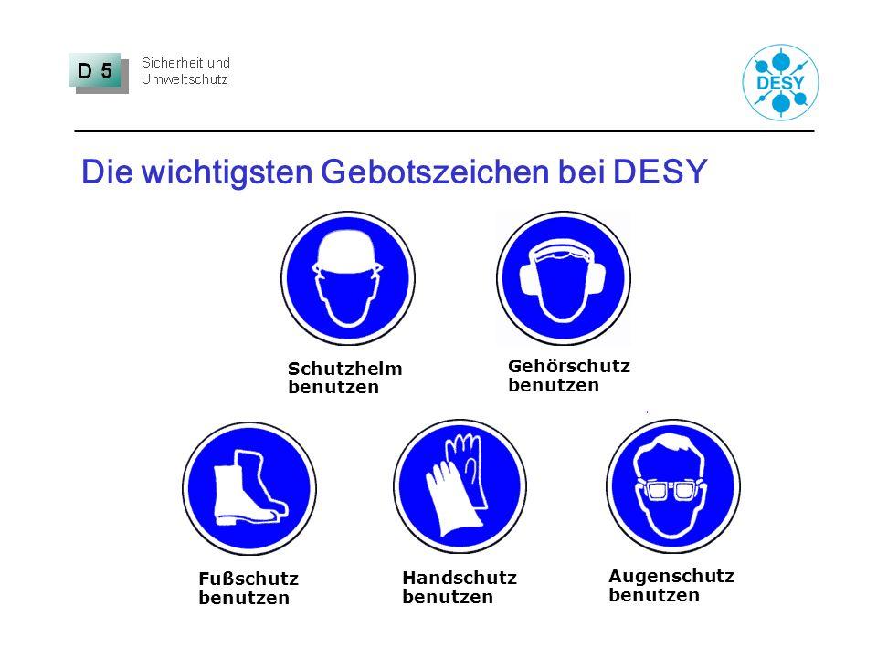 Die wichtigsten Gebotszeichen bei DESY