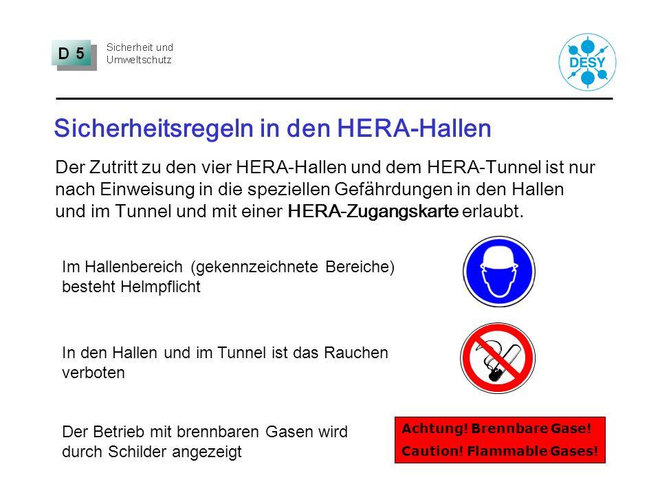 Sicherheitsregeln in den HERA-Hallen