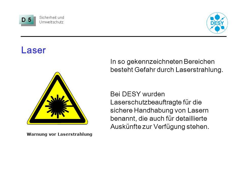 Laser In so gekennzeichneten Bereichen besteht Gefahr durch Laserstrahlung.