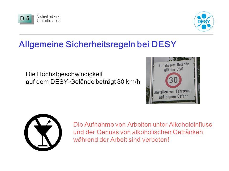 Allgemeine Sicherheitsregeln bei DESY
