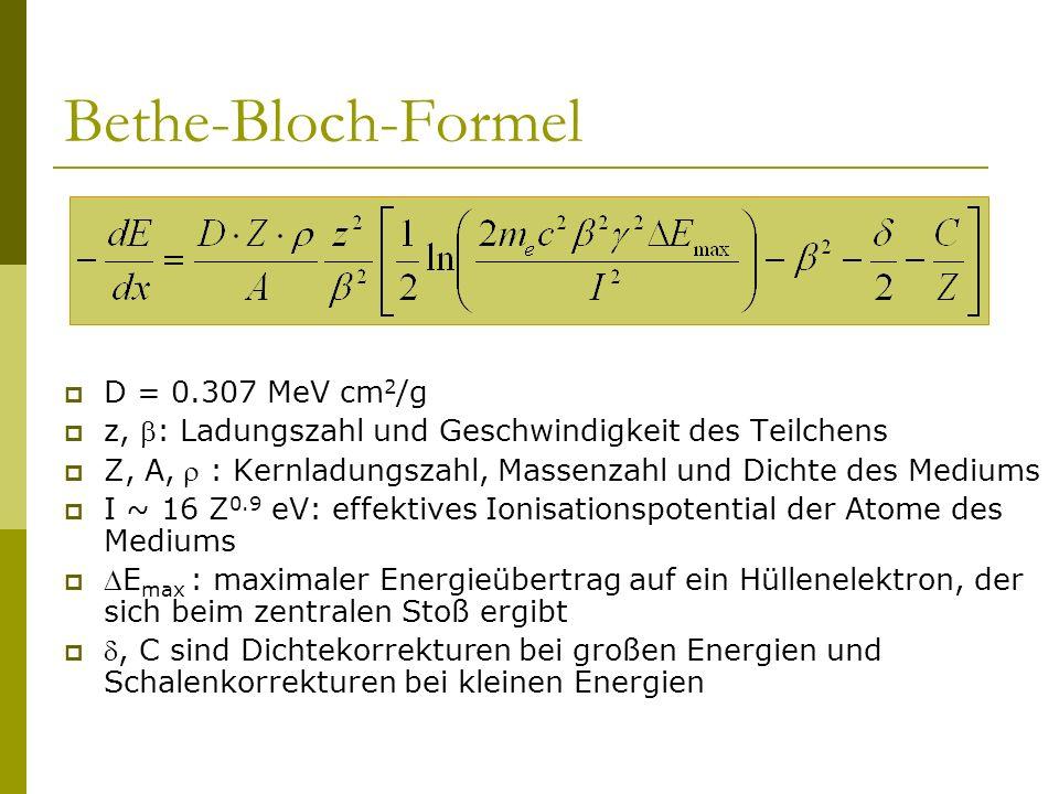 Bethe-Bloch-Formel D = 0.307 MeV cm2/g