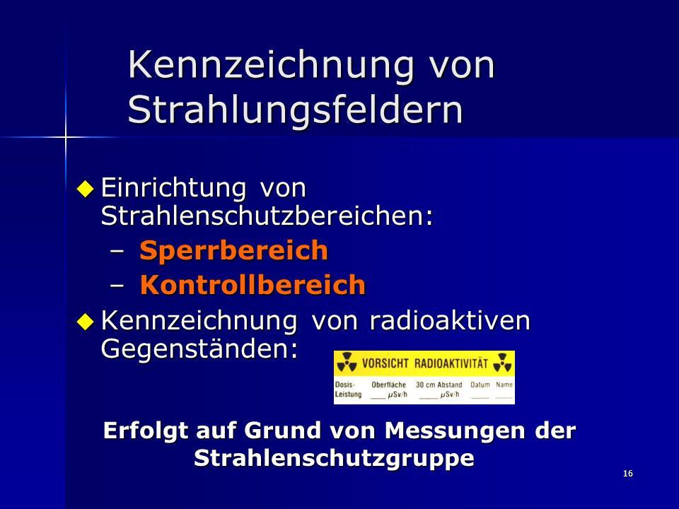 Kennzeichnung von Strahlungsfeldern