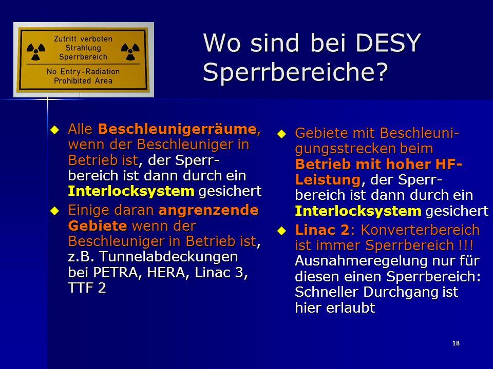 Wo sind bei DESY Sperrbereiche