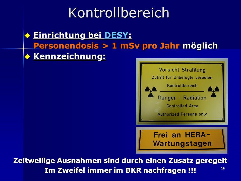 Kontrollbereich Einrichtung bei DESY: