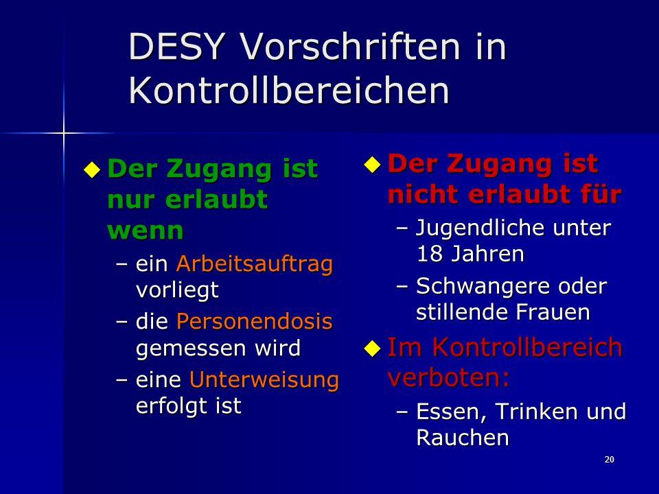DESY Vorschriften in Kontrollbereichen