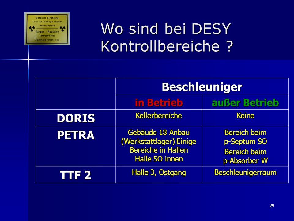 Wo sind bei DESY Kontrollbereiche