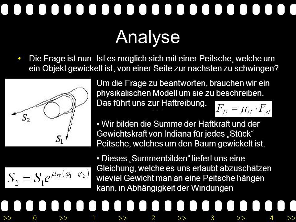 Analyse Die Frage ist nun: Ist es möglich sich mit einer Peitsche, welche um ein Objekt gewickelt ist, von einer Seite zur nächsten zu schwingen