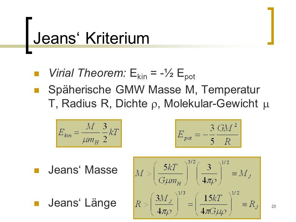 Jeans' Kriterium Virial Theorem: Ekin = -½ Epot