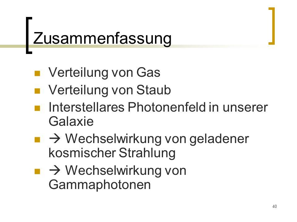 Zusammenfassung Verteilung von Gas Verteilung von Staub