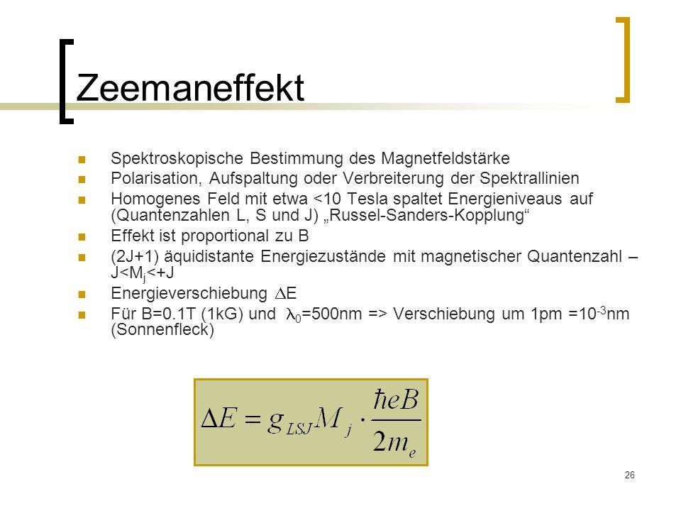 Zeemaneffekt Spektroskopische Bestimmung des Magnetfeldstärke