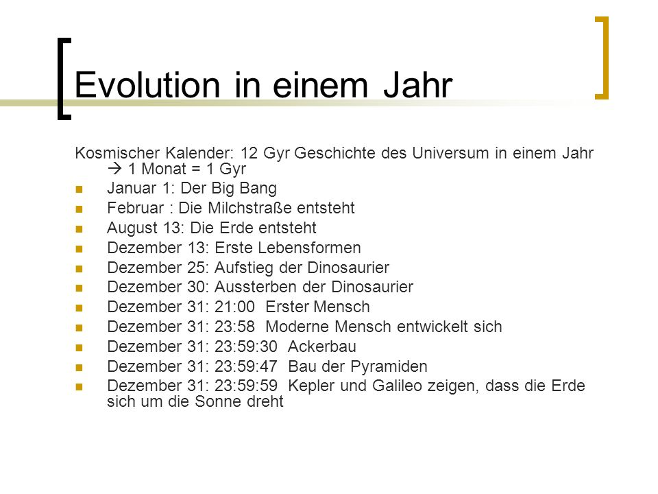 Evolution in einem Jahr