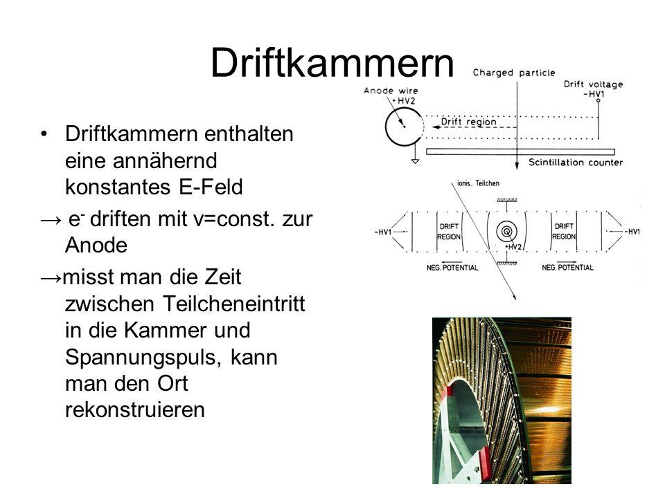 Driftkammern Driftkammern enthalten eine annähernd konstantes E-Feld