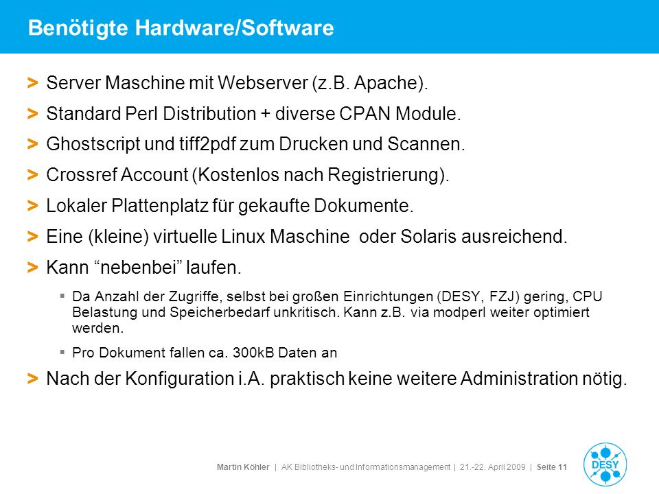 Benötigte Hardware/Software