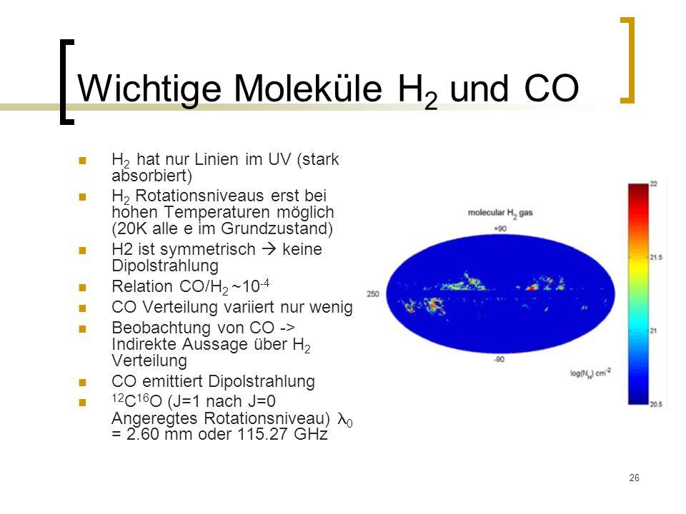 Wichtige Moleküle H2 und CO
