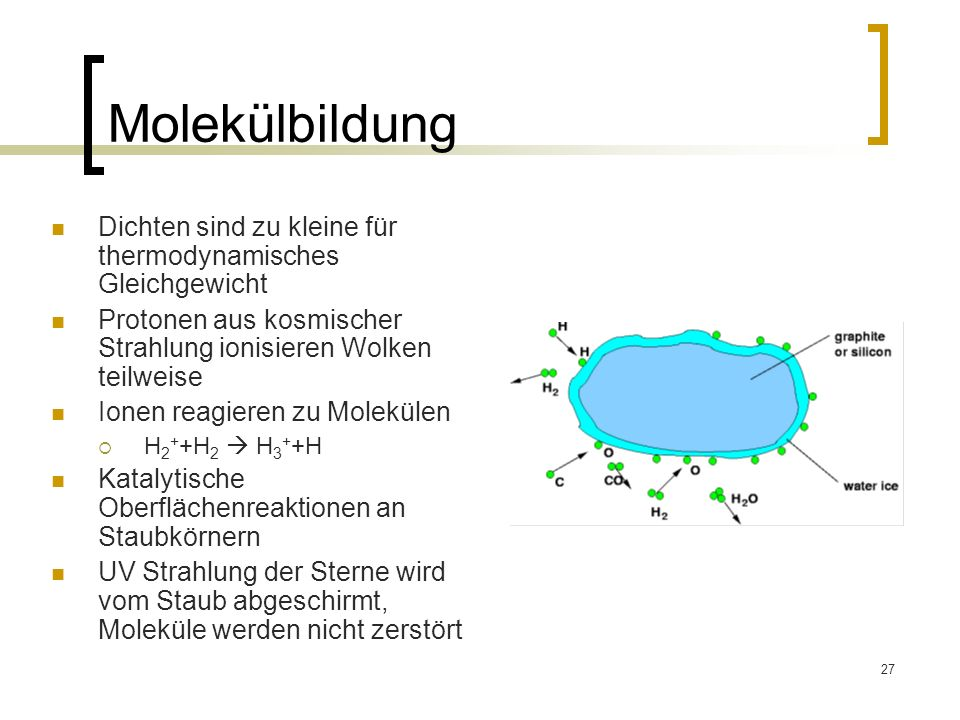 Molekülbildung Dichten sind zu kleine für thermodynamisches Gleichgewicht. Protonen aus kosmischer Strahlung ionisieren Wolken teilweise.