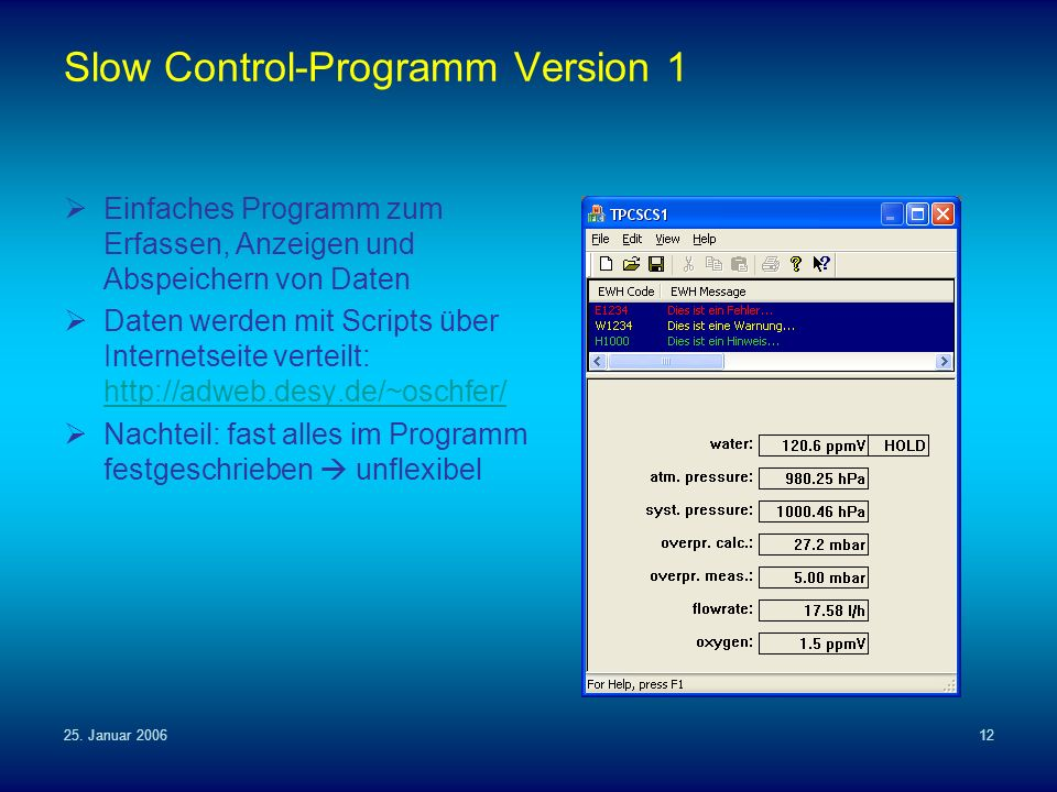 Slow Control-Programm Version 1