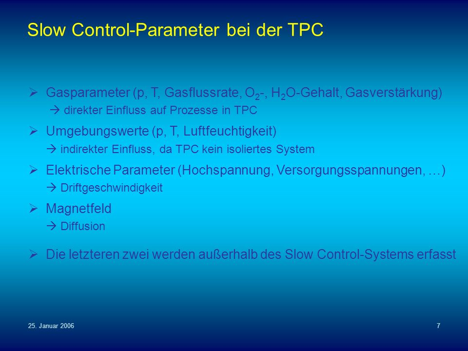 Slow Control-Parameter bei der TPC