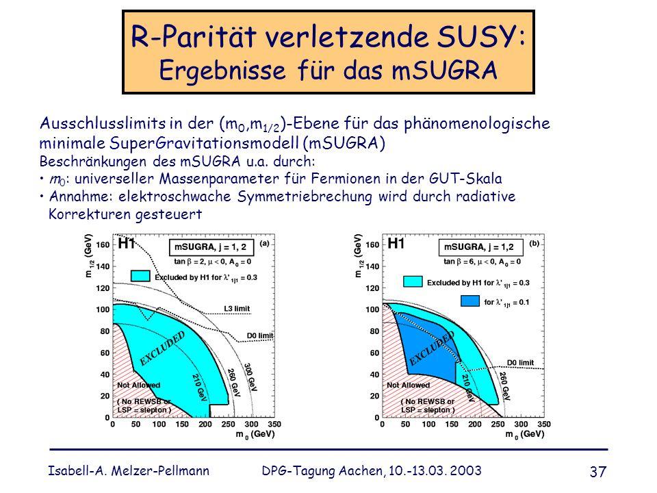R-Parität verletzende SUSY: Ergebnisse für das mSUGRA