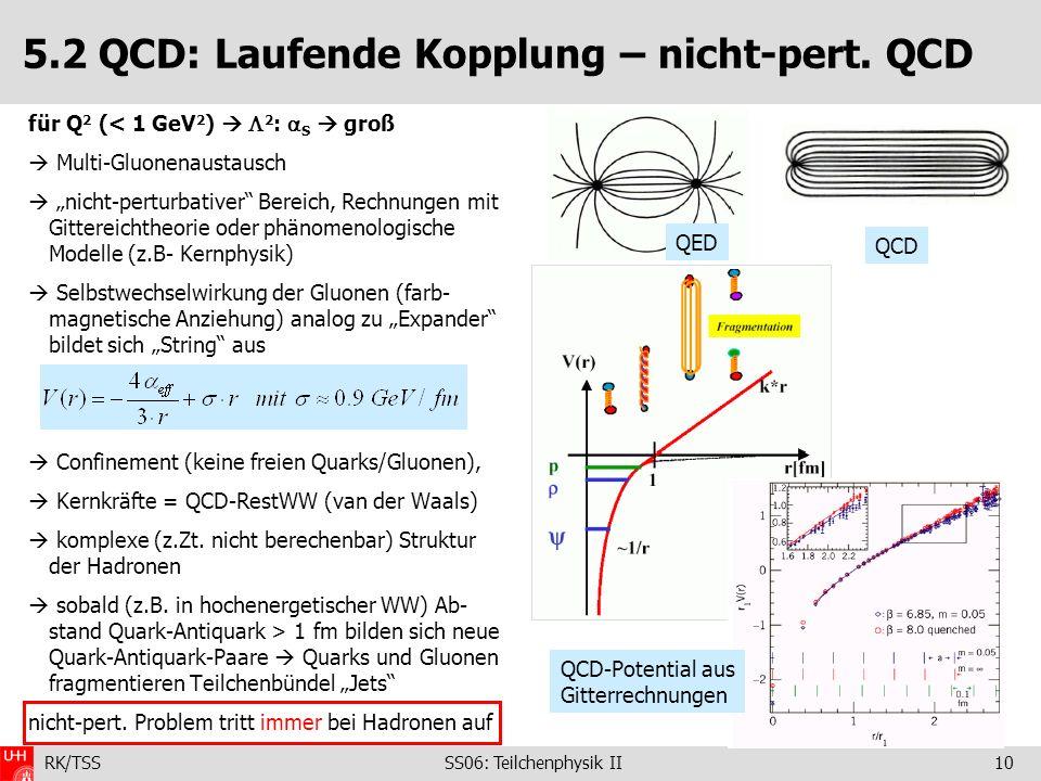 5.2 QCD: Laufende Kopplung – nicht-pert. QCD