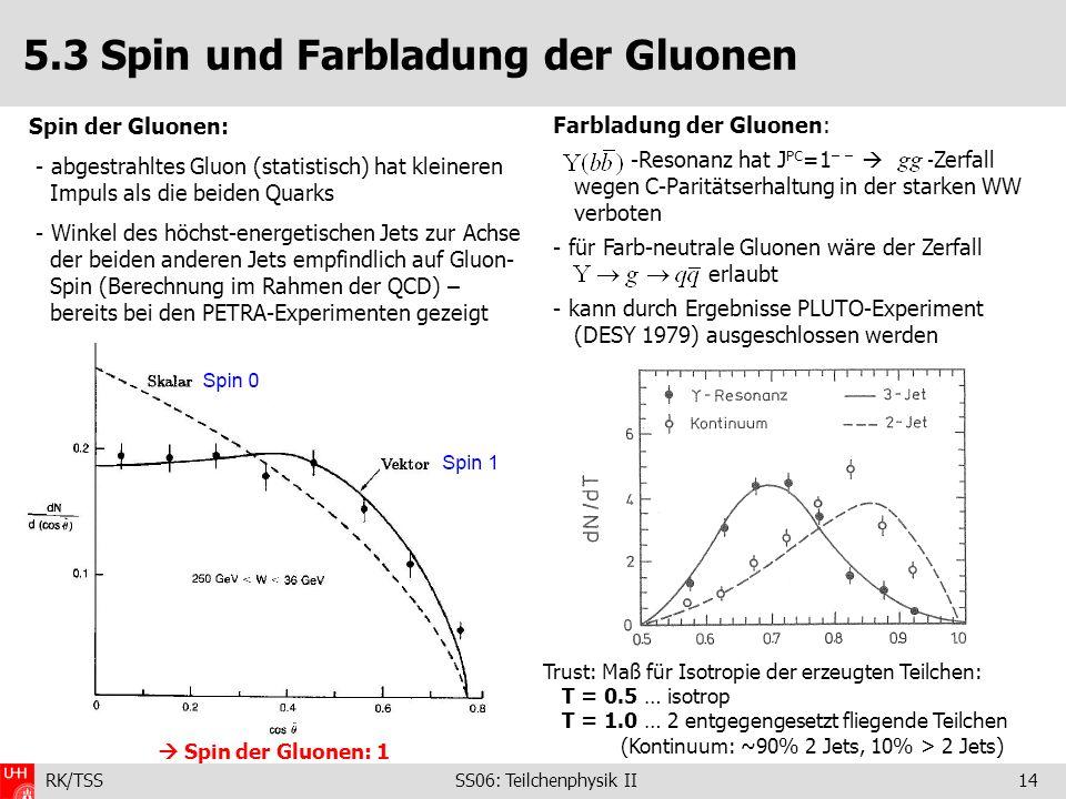 5.3 Spin und Farbladung der Gluonen