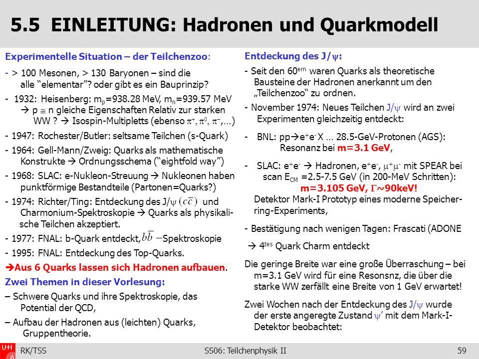 5.5 EINLEITUNG: Hadronen und Quarkmodell