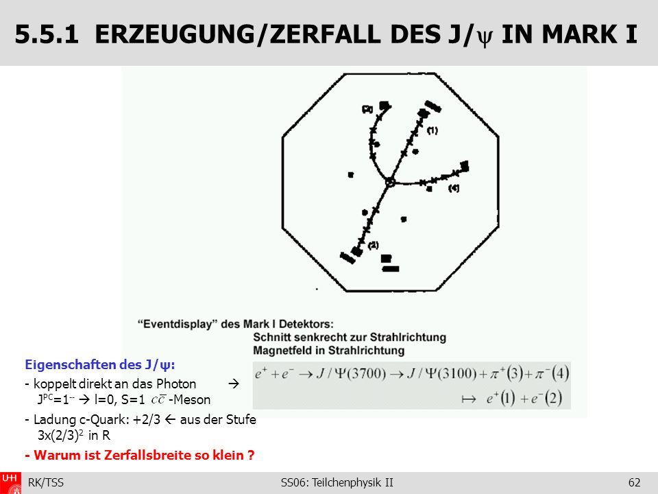 5.5.1 ERZEUGUNG/ZERFALL DES J/ IN MARK I