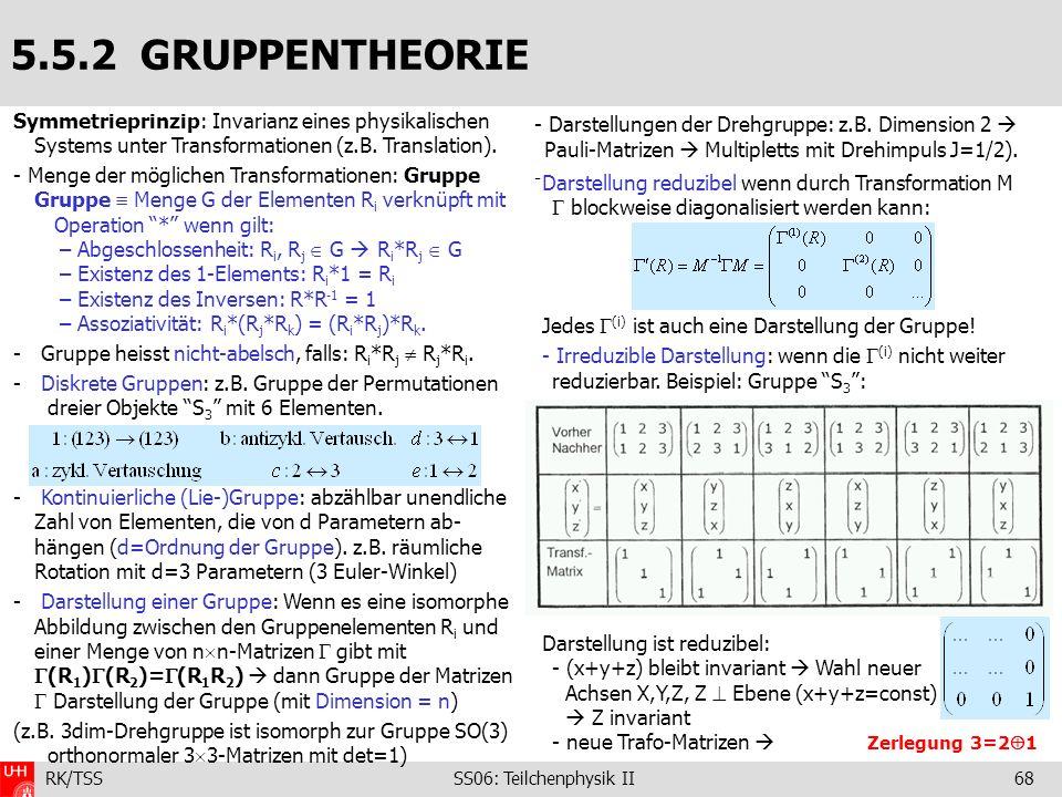 5.5.2 GRUPPENTHEORIE Symmetrieprinzip: Invarianz eines physikalischen Systems unter Transformationen (z.B. Translation).