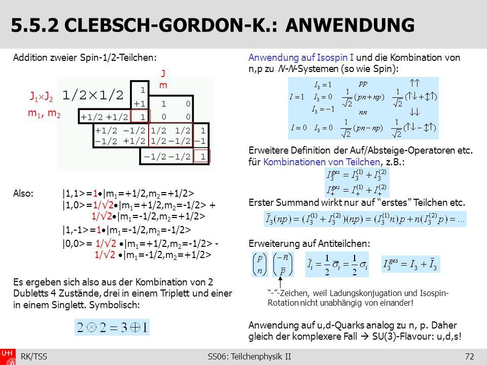 5.5.2 CLEBSCH-GORDON-K.: ANWENDUNG