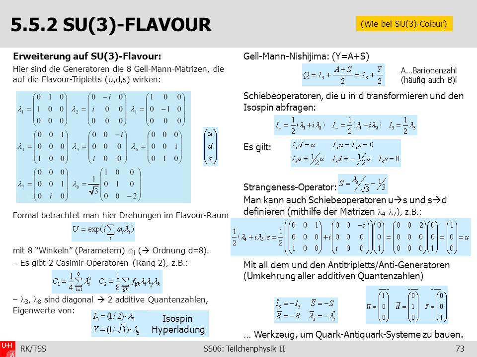 5.5.2 SU(3)-FLAVOUR Erweiterung auf SU(3)-Flavour: