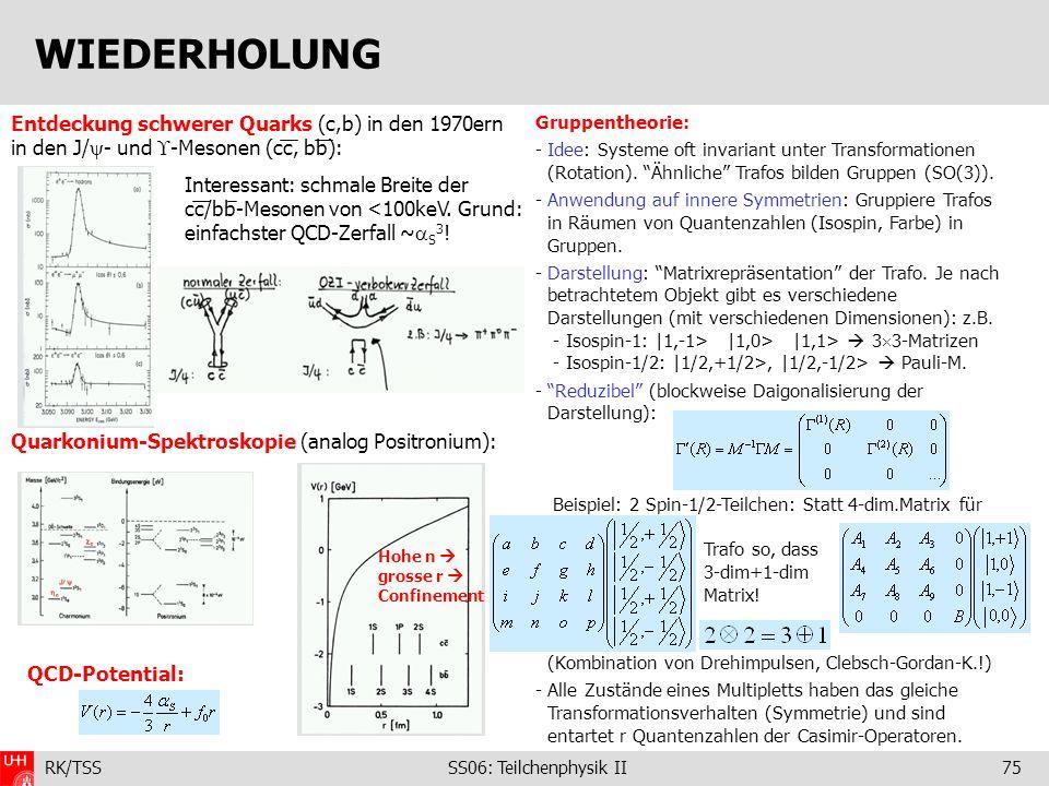 WIEDERHOLUNG Entdeckung schwerer Quarks (c,b) in den 1970ern in den J/- und -Mesonen (cc, bb): Quarkonium-Spektroskopie (analog Positronium):