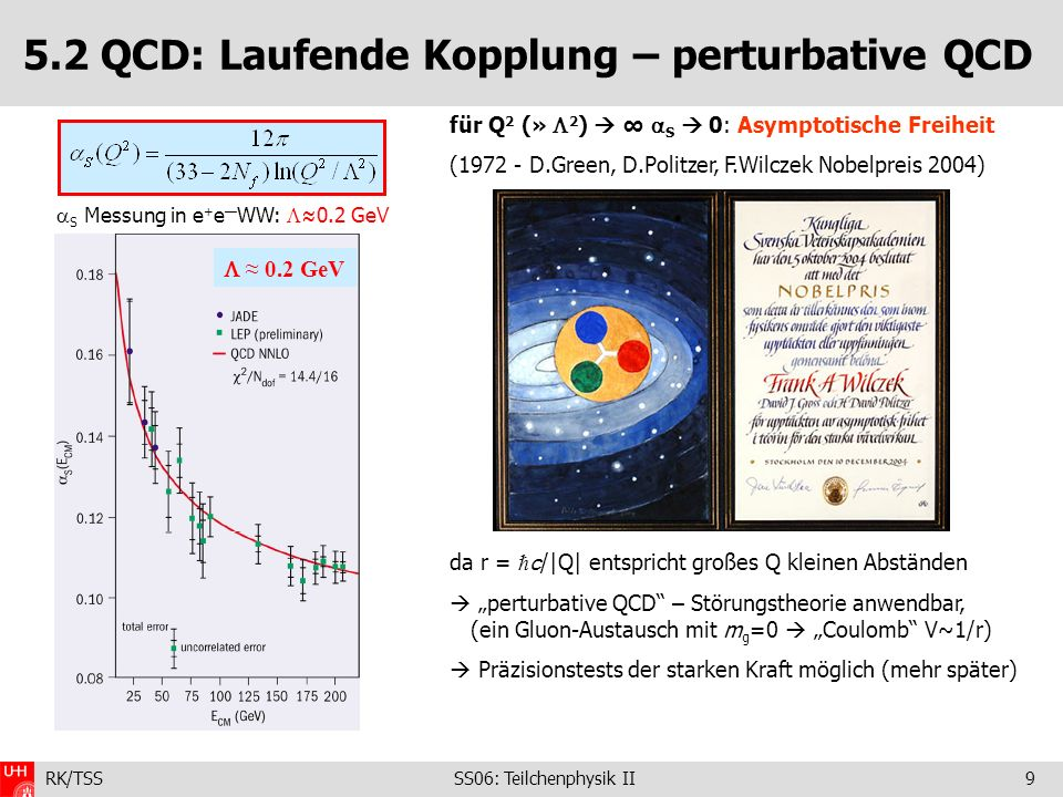 5.2 QCD: Laufende Kopplung – perturbative QCD