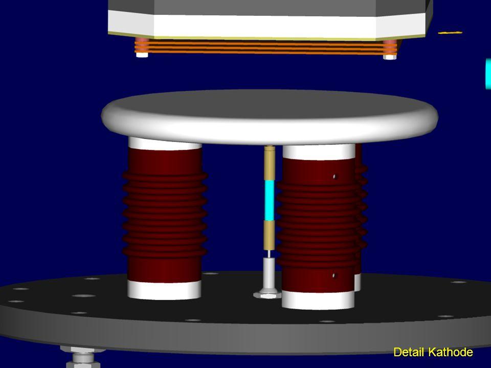 Hier noch einmal die Kathode im Detail, in der Mitte die Stromzuführung.