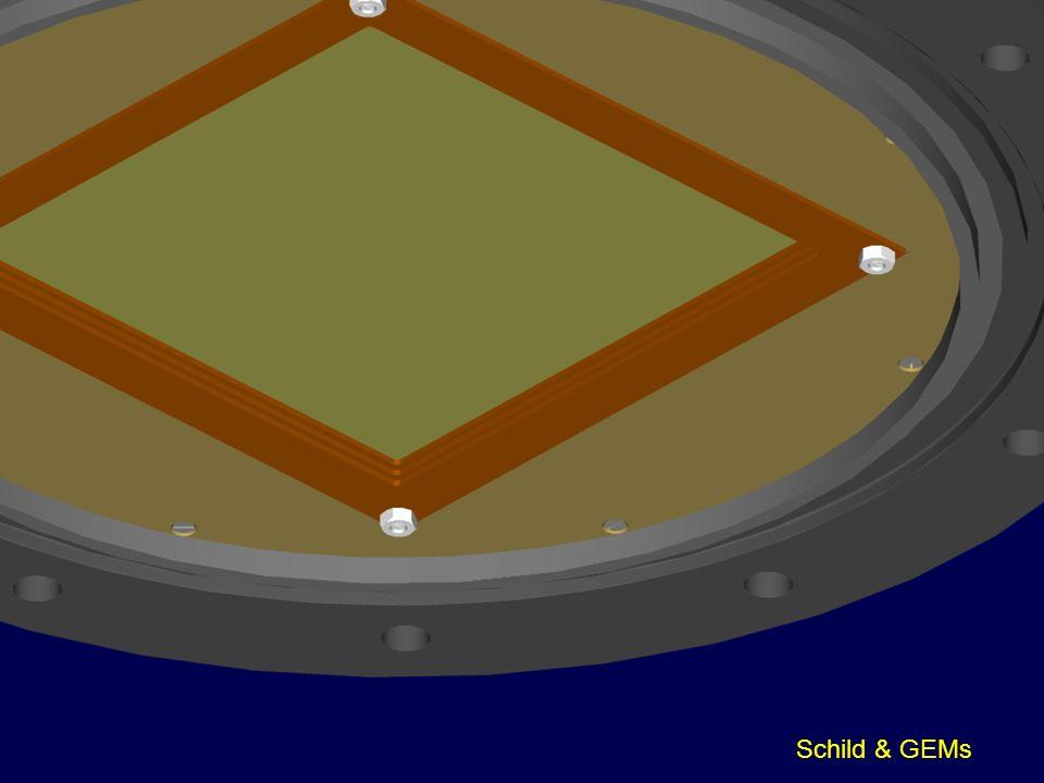 Hier sehen Sie einen Blick auf die GEMs mit der umgebenden Schildelektrode. Entfernt man sie …