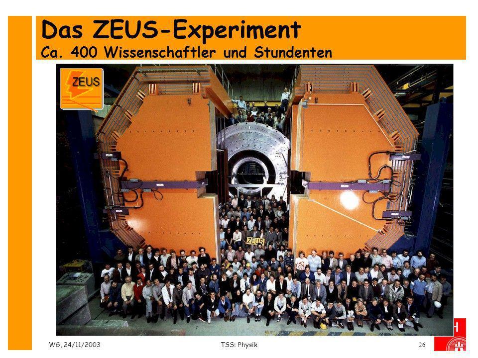 Das ZEUS-Experiment Ca. 400 Wissenschaftler und Stundenten