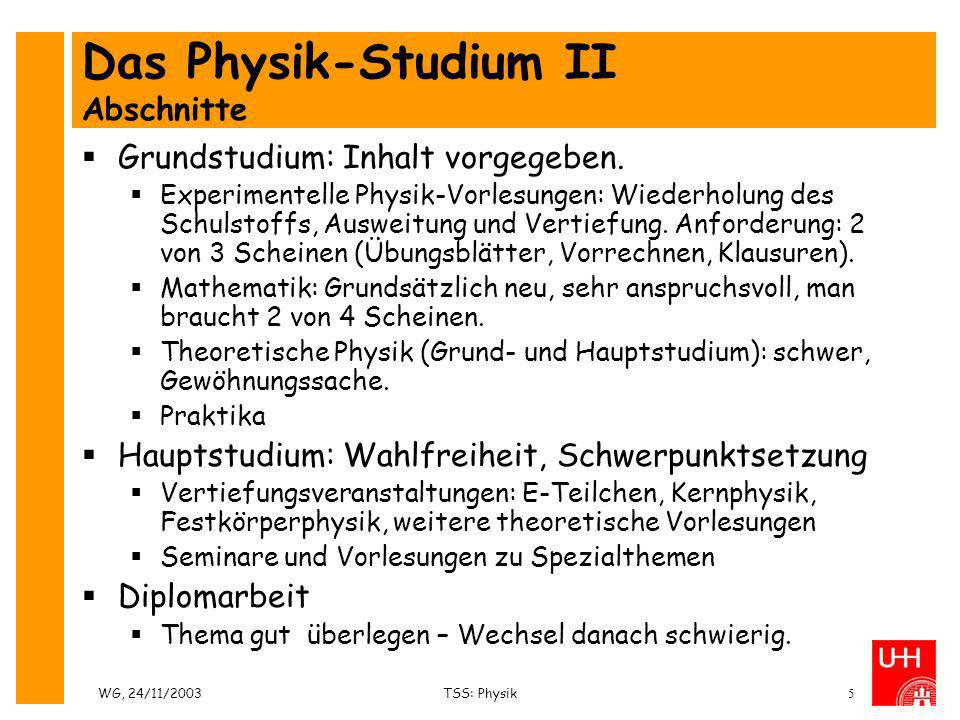 Das Physik-Studium II Abschnitte