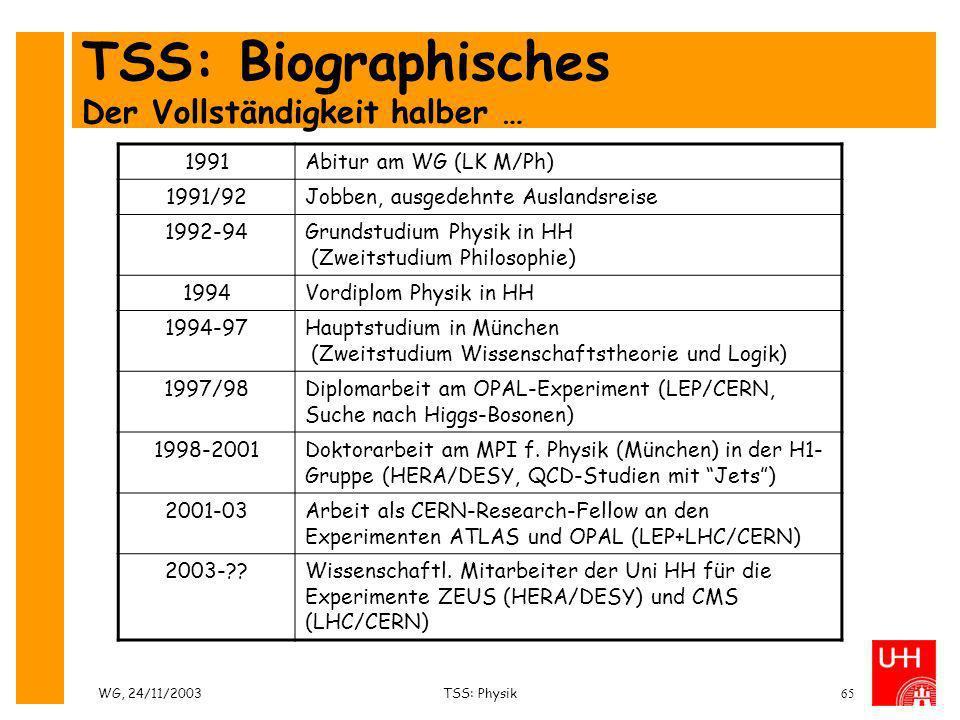 TSS: Biographisches Der Vollständigkeit halber …