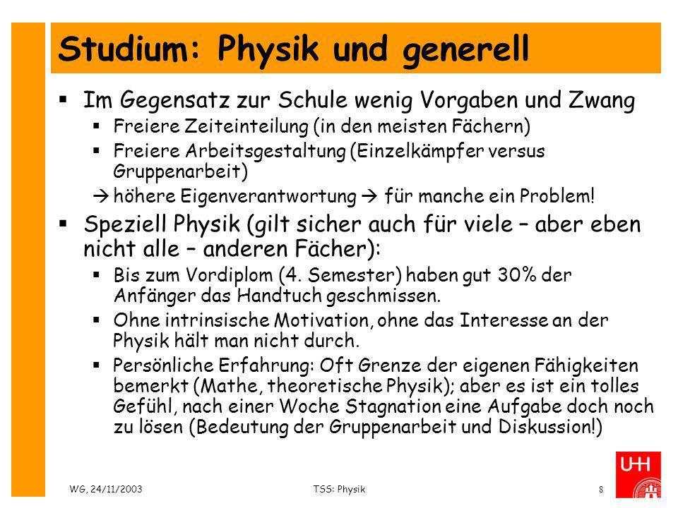 Studium: Physik und generell